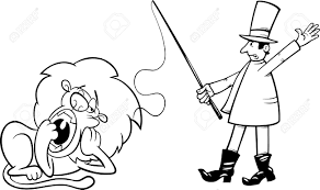 circus clipart of a coloring page outlined circus lion tamer