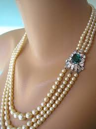 pearl necklace wedding jewelry images Emerald and pearl necklace emerald bridal choker great gatsby jpg