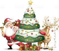 santa claus and rudolph with christmas tree stock vector art