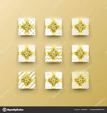 gold foil gift boxes christmas gift box present in golden ribbon bow and wrapping paper