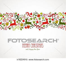 clipart of merry christmas decorations elements border k16224915