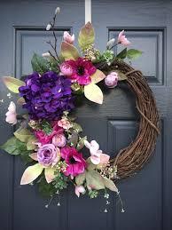 Spring Wreath Ideas Spring Wreaths Spring Door Wreath Purple Wreath Hydrangea