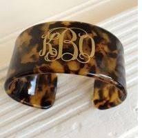 monogrammed bangle bracelet tortoise shell cuff bracelet