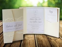 pocket invitations pocket style invitations with lace printed on shimmer pearl card stock