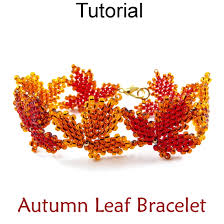 fall autumn maple leaf beaded bracelet diagonal peyote beading