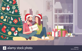 home celebration home interior hold present decorated gift new year merry stock
