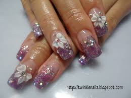 unique 3d nail designs purple u0026 pink colour acrylic glitters