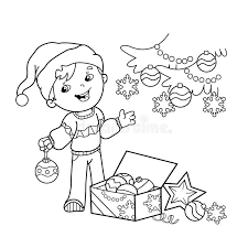 coloring page outline of boy decorating the tree