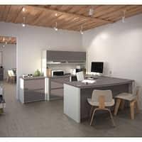 bestar innova u shaped workstation desk bestar pro linea u desk with hutch free shipping today overstock