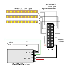 8 way hard wire splitter to 300w and 600w 12v driver diagram led