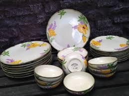 franciscan california poppy dinnerware set for 8 32 pc usa 1950