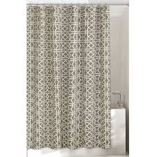 bathroom brown fabric with silver faucet and ivory 96 inch shower