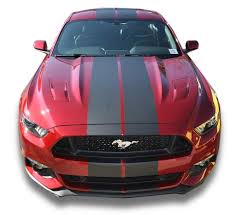 Red Mustang With Black Stripes Matte Black Pre Cut Dual Racing Stripes With Pinstripe 8 10 Inch