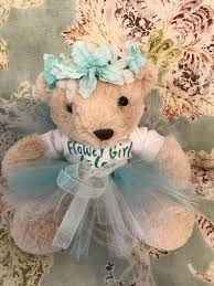 flower girl teddy gift personalized flower girl gift custom to your colors floral crown