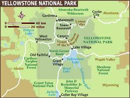 map usa showing wyoming map of yellowstone national park