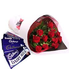 valentinegiftidea valentine roses with dairy milk chocolates