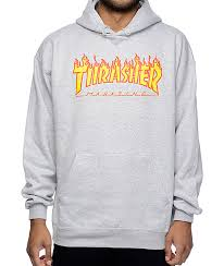 thrasher flame logo grey hoodie thrasher flame grey hoodie and gray