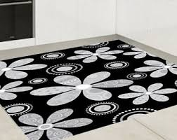 Grey And White Kitchen Rugs Vinyl Floor Mat Etsy