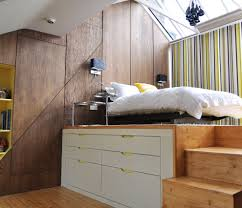 bedroom vintage wooden space saver bed with stairs and bed on