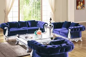 Navy Blue Sofa Set Posh Navy Blue Velvet Sofa Set With Silver Frame And Large Glass