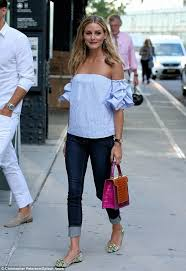light blue off the shoulder top olivia palermo wearing light blue off shoulder top navy skinny
