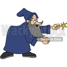 man in a blue gown pointing his magic wand clipart djart 6125