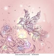 flying bird on background stylized ornament stock vector 106605392