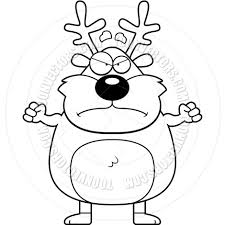 cartoon reindeer angry black and white line art by cory thoman
