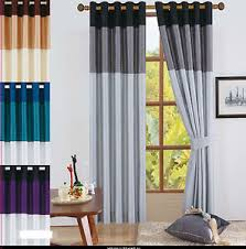 Silver And Blue Curtains Ring Top Faux Silk Eyelet Curtains Black Grey Silver Brown Gold