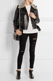 winter biker jacket acne studios shearling trimmed leather biker jacket in black lyst