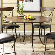 hillsdale cameron 5 piece round wood and metal dining table set