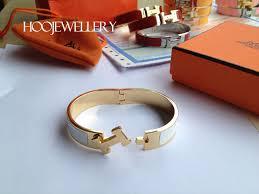 hermes bracelet white images Hermes clic h bracelet narrow black enamel and gold silver for jpg