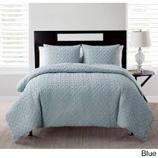 blue reversible down alternative 3 piece full queen bedding