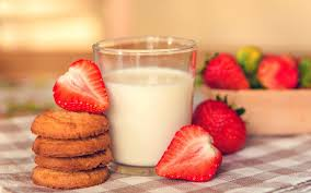 food milk breakfast cookies sweet strawberry berry background