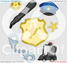 clipart of a police car handcuffs badges baton and hat