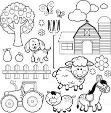 farm animals vector illustration collection black white