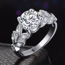 girls golden rings images Online shop 1pc hot crystal silvery women leaf engagement rings jpg