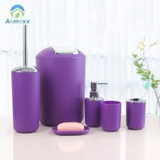 china supplier 5 pcs plastic purple bathroom accessories set buy