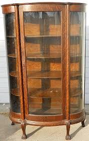 Pulaski Curio Cabinet Used Antique Curio Cabinets Quarter Sawn Oak Curved Glass China