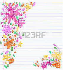 sheet of notebook with drafts of colorful drawings of leaves