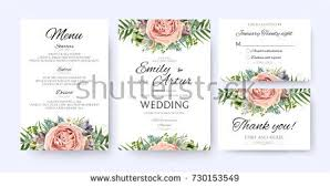 Marriage Invitation Card Design Wedding Invitation Floral Invite Card Design Stock Vector