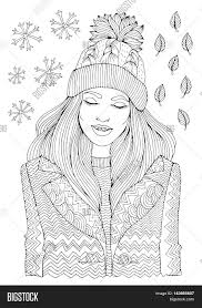 vector hand drawn fashion smiling in a warm knitted hat and