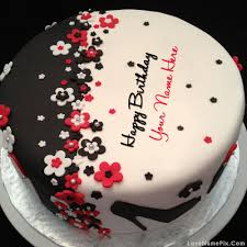elegant happy birthday cake with name photo happy birthday
