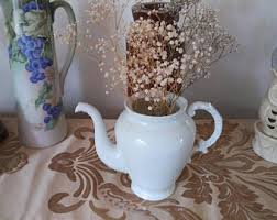 Shabby Chic Flower Pots by Teapot Flowers Etsy