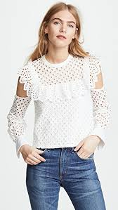 shoulder blouse endless cotton eyelet cold shoulder blouse shopbop