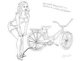 Bicycle Pin Up Girl Coloring Page Pin Ups For The Planet Pin Up Coloring Pages
