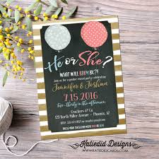 gender reveal invitation ready to pop ballon gold stripe neutral