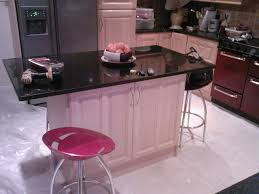 nice small pink kitchen come with rectangle shape pink wooden