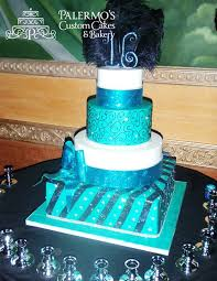 black and teal jeweled sweet 16 specialty cake cakes cupcakes