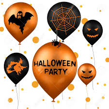 a halloween illustration with party balloons in black and orange